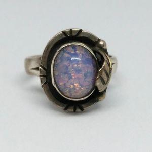Foil Opal Sterling Silver Leaf Ring
